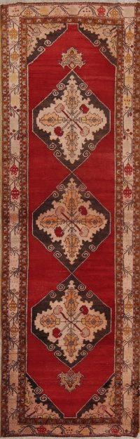 Semi-Antique Floral Yahyali Turkish Oriental Runner Rug 4x11