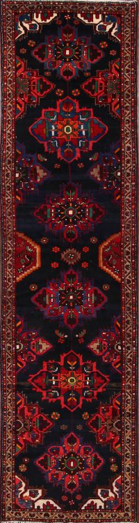 Geometric Tribal Gharajeh Persian Runner Rug 4x14