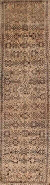 Antique Washed Color 4x13 Hamedan Persian Runner Rug