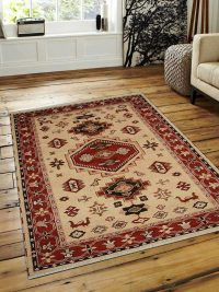Hand Knotted Afghan Wool And Silk Oriental Area Rug Kazak Gold Red