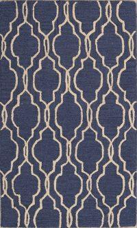Geometric Blue/Ivory Trellis Indian Oriental Area Rug