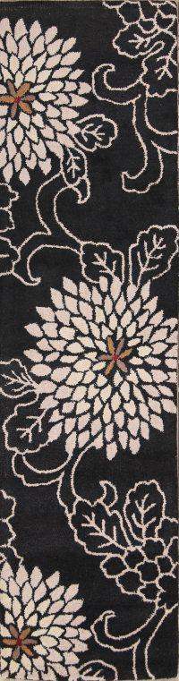 Hand-Tufted Black Transitional Floral Oushak Oriental Rug
