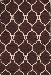 Hand-Tufted Dark Brown Trellis Oriental Area Rug