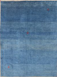 Thick Pile Blue Gabbeh Shiraz Persian Area Rug 6x8