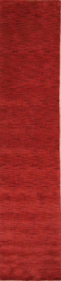 Red Solid Contemporary Gabbeh Oriental Runner Rug 3x12