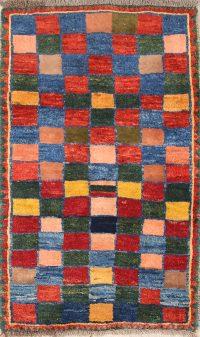 Checked Modern 3x5 Gabbeh Shiraz Persian Area Rug