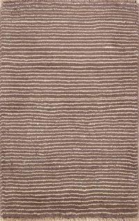 Striped Earth-Tone Color 3x4 Gabbeh Shiraz Persian Area Rug