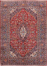 Red Floral Kashan Persian Area Rug 8x11