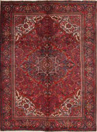 Red Geometric Heriz Persian Area Rug 7x9