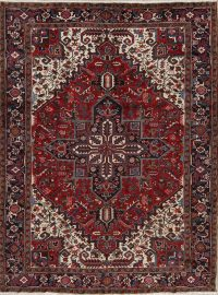 Red Geometric Heriz Persian Area Rug 8x11