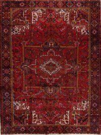 Red Vintage Geometric Heriz Persian Area Rug 10x13