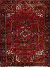 Red Vintage Geometric Heriz Persian Area Rug 10x13
