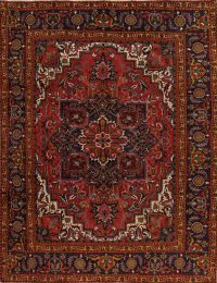 Vegetable Dye Geometric Heriz Serapi Persian Area Rug 10x13