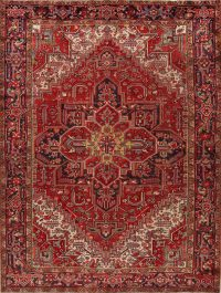 Antique Geometric Heriz Persian Area Rug 9x11