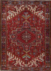 Red Geometric Heriz Persian Area Rug 8x11