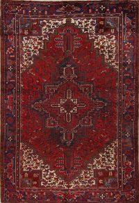 Red Geometric Heriz Persian Area Rug 7x11