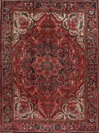 Red Floral Heriz Persian Area Rug 10x13