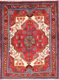 Red Geometric Hamedan Persian Area Rug 4x5