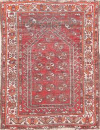 Antique Red Geometric Balouch Oriental Wool Rug 3x4