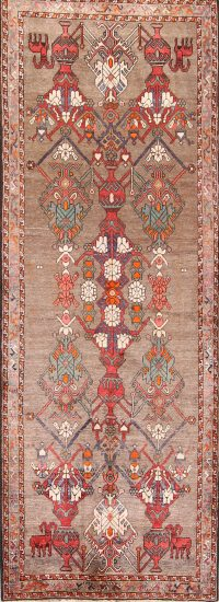 Pictorial Geometric Gabbeh Persian Runner Rug 3x9