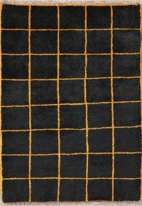 Checked Black Gabbeh Shiraz Persian Modern Rug 3x4