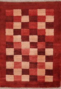 Checked Wool Gabbeh Shiraz Persian Area Rug 3x4