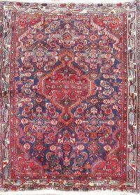 Navy Blue Geometric Hamedan Persian Wool Rug 3x5