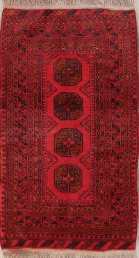 Red Geometric Balouch Oriental Area Rug 3x6