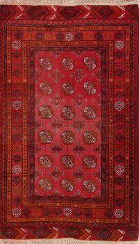 Red Geometric Balouch Oriental Area Rug 4x6
