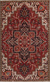 Geometric Wool Heriz Persian Area Rug 6x10