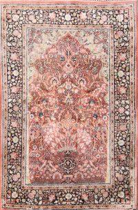 Floral Silk Indo Kashmir Oriental Area Rug 4x6