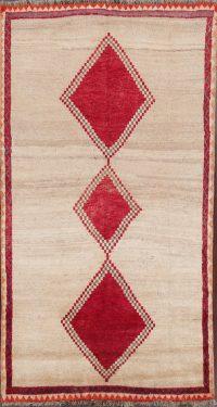Ivory Geometric Gabbeh Shiraz Qashqai Persian Runner Rug 4x8