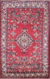 Red Floral Hamedan Persian Area Rug 4x8