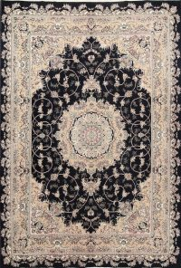 Black Floral Isfahan Persian Area Rug 8x12
