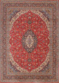 Red Floral Traditional Kashan Persian Area Rug 9x13
