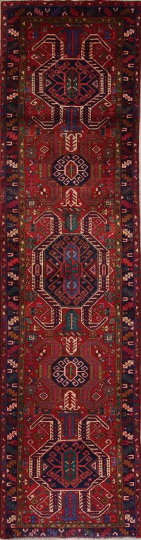 Red Geometric Heriz Persian Runner Rug 4x14