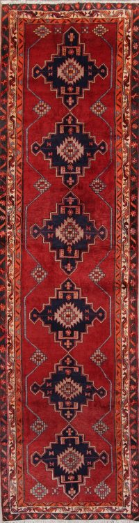 Red Geometric Heriz Persian Runner Rug 3x13
