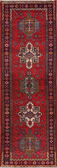 Red Geometric Heriz Persian Runner Rug 3x11