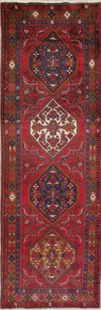 Red Geometric Heriz Persian Runner Rug 4x11