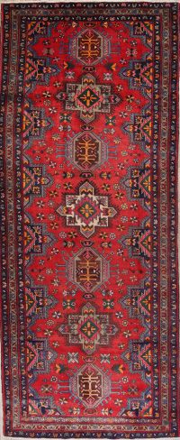 Red Geometric Heriz Persian Runner Rug 5x13