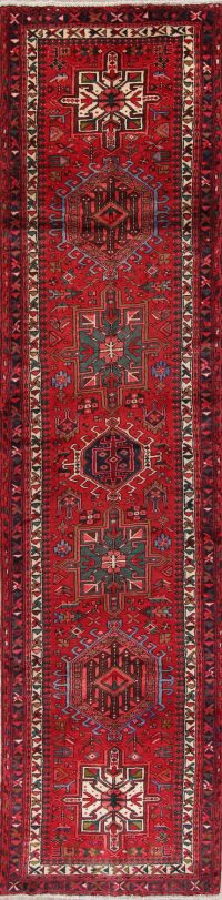 Red Geometric Gharajeh Persian Runner Rug 4x14
