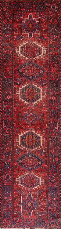 Red Geometric Gharajeh Persian Runner Rug 3x13