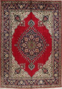 Red Floral Tabriz Persian Area Rug 8x12