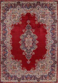 Vintage Red Floral Kerman Persian Area Rug 10x13