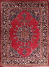 Vegetable Dye Red Antique Floral Mood Persian Area Rug 10x13