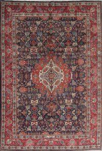 Charcoal Geometric Tabriz Persian Area Rug 7x10