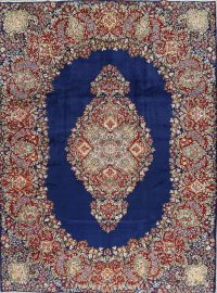 Blue Floral Kerman Persian Area Rug 9x12