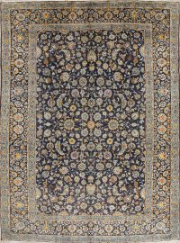 Navy Blue Floral Kashan Persian Area Rug 9x12