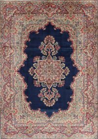 Blue Floral Kerman Persian Area Rug 8x11
