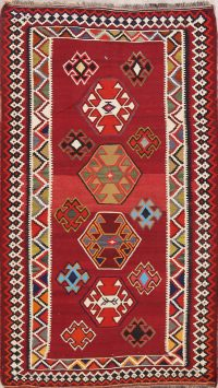 Red Geometric Kilim Shiraz Persian Area Rug 4x7